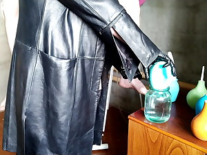 Dominatrix washes slave's ass with 2 different enema bulbs