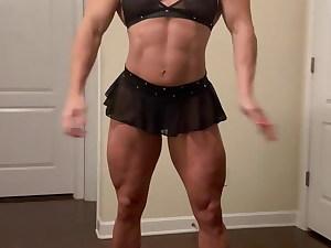 Short Miniskirt Muscle Posing