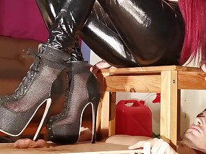 Cock stomping painful cbt in high high-heeled slippers for sub pt2
